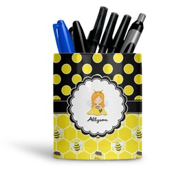 Honeycomb, Bees & Polka Dots Ceramic Pen Holder