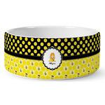 Honeycomb, Bees & Polka Dots Ceramic Dog Bowl (Personalized)
