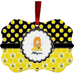 Honeycomb, Bees & Polka Dots Ornament (Personalized)