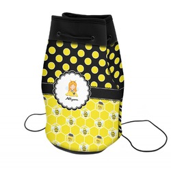 Honeycomb, Bees & Polka Dots Neoprene Drawstring Backpack (Personalized)