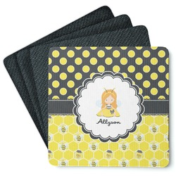 Honeycomb, Bees & Polka Dots 4 Square Coasters - Rubber Backed (Personalized)