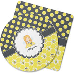 Honeycomb, Bees & Polka Dots Rubber Backed Coaster (Personalized)