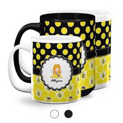 Honeycomb, Bees & Polka Dots Coffee Mugs (Personalized)