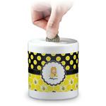 Honeycomb, Bees & Polka Dots Coin Bank (Personalized)