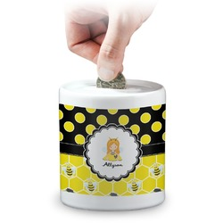 Honeycomb, Bees & Polka Dots Coin Bank (Personalized)