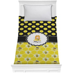 Honeycomb, Bees & Polka Dots Comforter - Twin (Personalized)