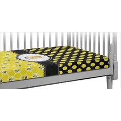 Honeycomb, Bees & Polka Dots Crib Fitted Sheet (Personalized)