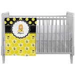 Honeycomb, Bees & Polka Dots Crib Comforter / Quilt (Personalized)