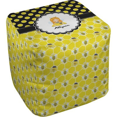 Honeycomb, Bees & Polka Dots Cube Pouf Ottoman (Personalized)