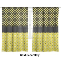 "Honeycomb, Bees & Polka Dots Curtains - 20""x63"" Panels - Unlined (2 Panels Per Set) (Personalized)"