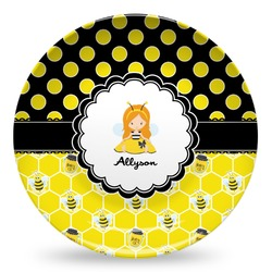 Honeycomb, Bees & Polka Dots Microwave Safe Plastic Plate - Composite Polymer (Personalized)
