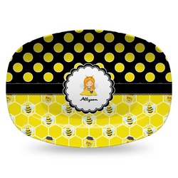 Honeycomb, Bees & Polka Dots Plastic Platter - Microwave & Oven Safe Composite Polymer (Personalized)