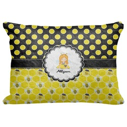 "Honeycomb, Bees & Polka Dots Decorative Baby Pillowcase - 16""x12"" (Personalized)"