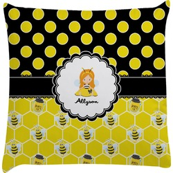 Honeycomb, Bees & Polka Dots Decorative Pillow Case (Personalized)