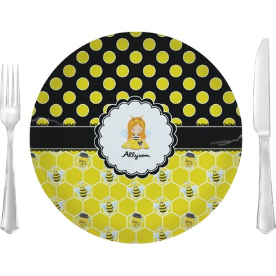 """Honeycomb, Bees & Polka Dots 10"""" Glass Lunch / Dinner Plates - Single or Set (Personalized)"""
