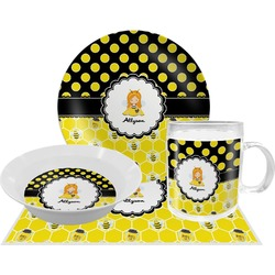 Honeycomb, Bees & Polka Dots Dinner Set - 4 Pc (Personalized)