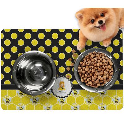 Honeycomb, Bees & Polka Dots Dog Food Mat - Small w/ Name or Text