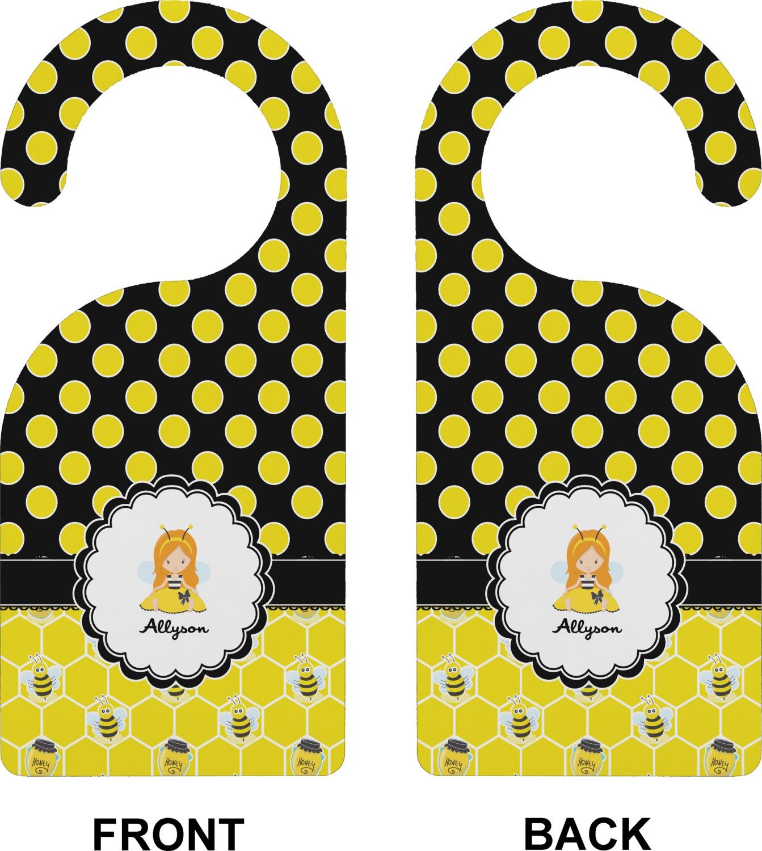 Honeycomb bees polka dots door hanger personalized