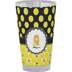 Honeycomb, Bees & Polka Dots Drinking / Pint Glass (Personalized)