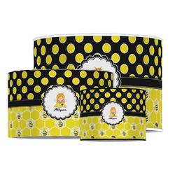 Honeycomb, Bees & Polka Dots Drum Lamp Shade (Personalized)