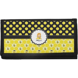Honeycomb, Bees & Polka Dots Canvas Checkbook Cover (Personalized)