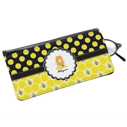 Honeycomb, Bees & Polka Dots Genuine Leather Eyeglass Case (Personalized)