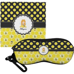 Honeycomb, Bees & Polka Dots Eyeglass Case & Cloth (Personalized)