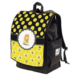 Honeycomb, Bees & Polka Dots Backpack w/ Front Flap  (Personalized)