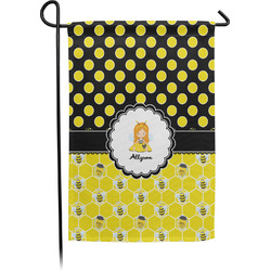 Honeycomb, Bees & Polka Dots Garden Flag With Pole (Personalized)