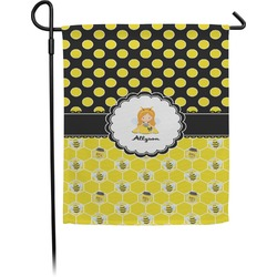 Honeycomb, Bees & Polka Dots Garden Flag (Personalized)