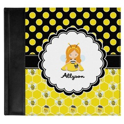 Honeycomb, Bees & Polka Dots Genuine Leather Baby Memory Book (Personalized)