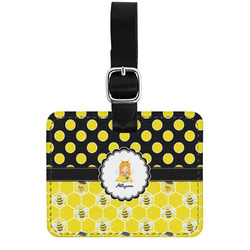 Honeycomb, Bees & Polka Dots Genuine Leather Rectangular  Luggage Tag (Personalized)