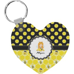 Honeycomb, Bees & Polka Dots Heart Keychain (Personalized)