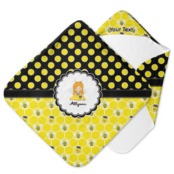 Honeycomb, Bees & Polka Dots Hooded Baby Towel (Personalized)
