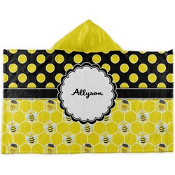 Honeycomb, Bees & Polka Dots Kids Hooded Towel (Personalized)