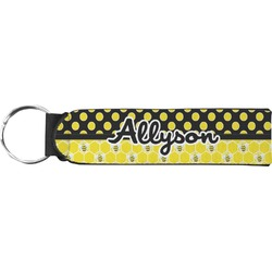Honeycomb, Bees & Polka Dots Neoprene Keychain Fob (Personalized)