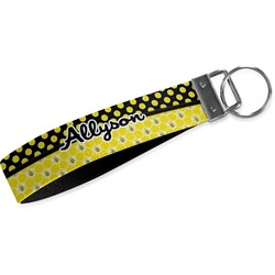 Honeycomb, Bees & Polka Dots Webbing Keychain Fob - Large (Personalized)