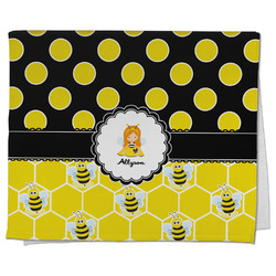Honeycomb, Bees & Polka Dots Kitchen Towel - Full Print (Personalized)