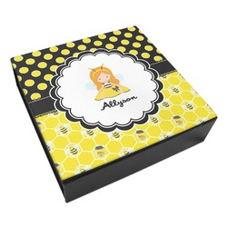Honeycomb, Bees & Polka Dots Leatherette Keepsake Box - 8x8 (Personalized)