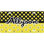 Honeycomb, Bees & Polka Dots Front License Plate (Personalized)