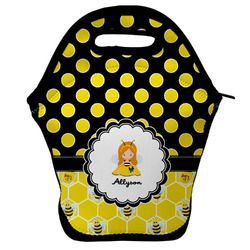 Honeycomb, Bees & Polka Dots Lunch Bag w/ Name or Text