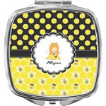 Honeycomb, Bees & Polka Dots Compact Makeup Mirror (Personalized)