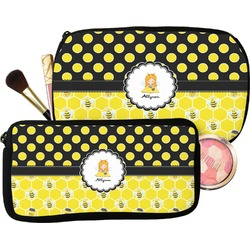 Honeycomb, Bees & Polka Dots Makeup / Cosmetic Bag (Personalized)