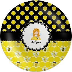 Honeycomb, Bees & Polka Dots Melamine Plate (Personalized)