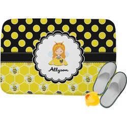 Honeycomb, Bees & Polka Dots Memory Foam Bath Mat (Personalized)