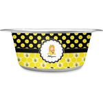 Honeycomb, Bees & Polka Dots Stainless Steel Dog Bowl (Personalized)