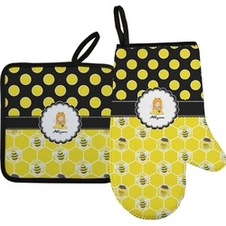 Honeycomb, Bees & Polka Dots Oven Mitt & Pot Holder (Personalized)