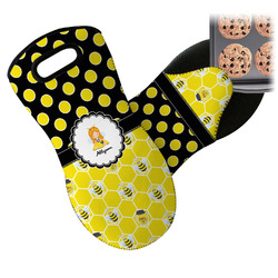 Honeycomb, Bees & Polka Dots Neoprene Oven Mitt (Personalized)