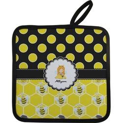 Honeycomb, Bees & Polka Dots Pot Holder w/ Name or Text