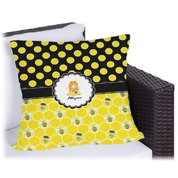 """Honeycomb, Bees & Polka Dots Outdoor Pillow - 16"""" (Personalized)"""